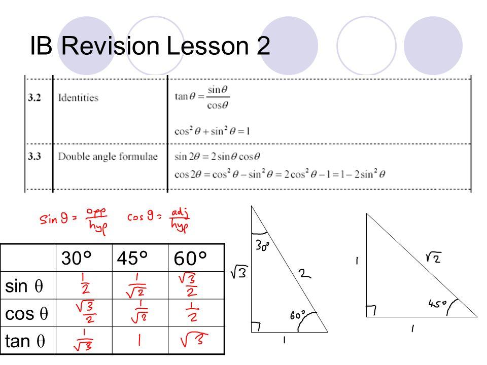 IB Revision Lesson 2 30 ° 45 °60° sin θ cos θ tan θ