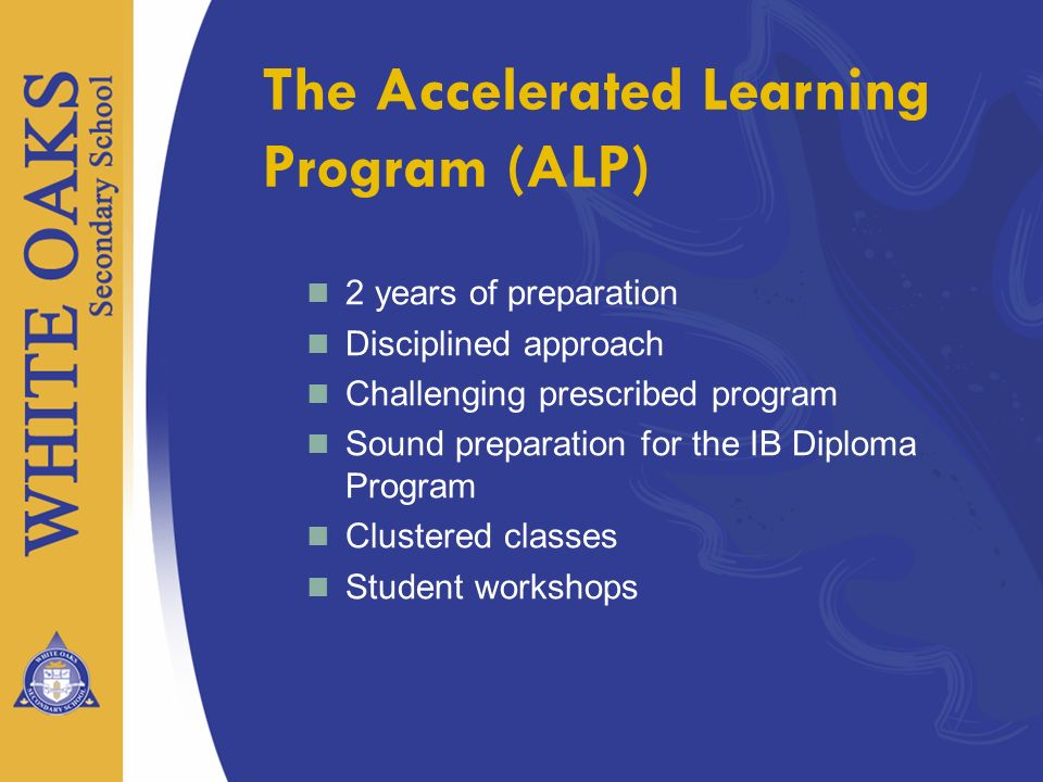 2 years of preparation Disciplined approach Challenging prescribed program Sound preparation for the IB Diploma Program Clustered classes Student work