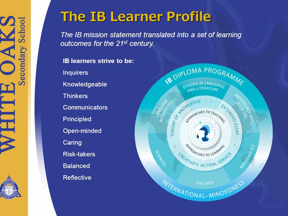 Last 2 years of high school Internationally recognized high school diploma 139 countries, 2179 schools 748 in NA, 137 in Canada, 49 in ON External exams are evaluated by strict IB standards.