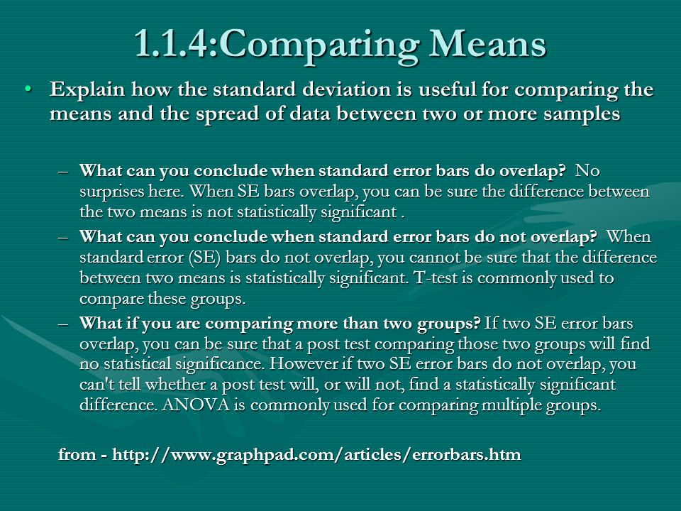 1.1.4:Comparing Means Explain how the standard deviation is useful for comparing the means and the spread of data between two or more samplesExplain how the standard deviation is useful for comparing the means and the spread of data between two or more samples –What can you conclude when standard error bars do overlap.