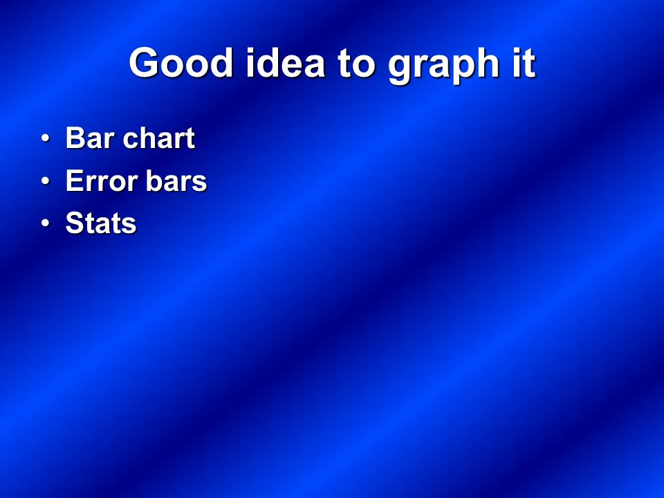 Good idea to graph it Bar chartBar chart Error barsError bars StatsStats