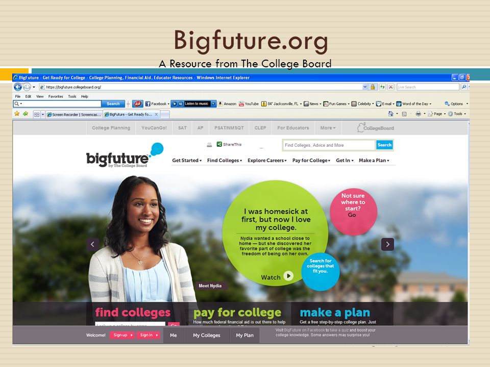 Bigfuture.org A Resource from The College Board