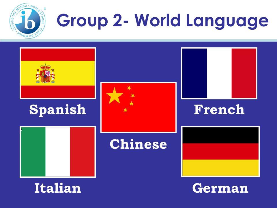 Group 2- World Language Italian FrenchSpanish German Chinese