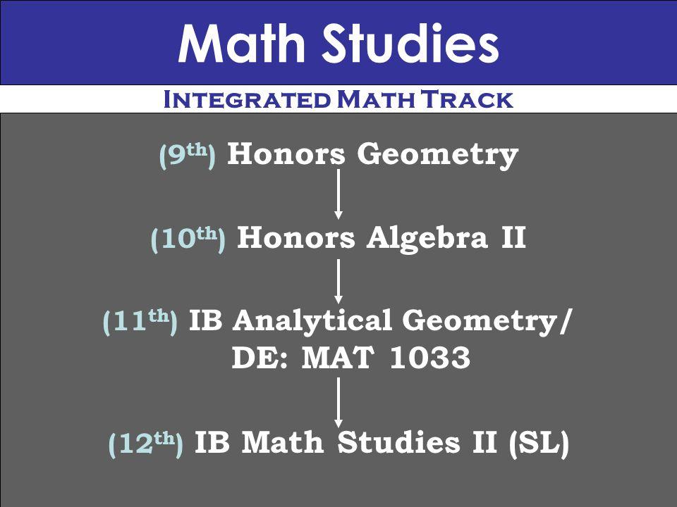 Math Studies (9 th ) Honors Geometry (10 th ) Honors Algebra II (11 th ) IB Analytical Geometry/ DE: MAT 1033 (12 th ) IB Math Studies II (SL) Integrated Math Track