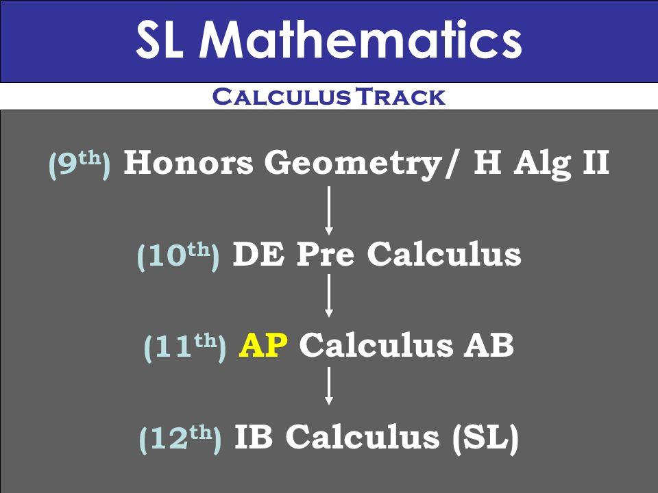 SL Mathematics (9 th ) Honors Geometry/ H Alg II (10 th ) DE Pre Calculus (11 th ) AP Calculus AB (12 th ) IB Calculus (SL) Calculus Track