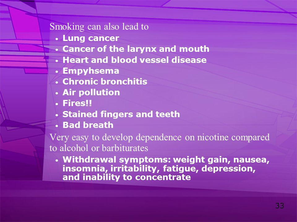 33 Smoking can also lead to Lung cancer Cancer of the larynx and mouth Heart and blood vessel disease Empyhsema Chronic bronchitis Air pollution Fires