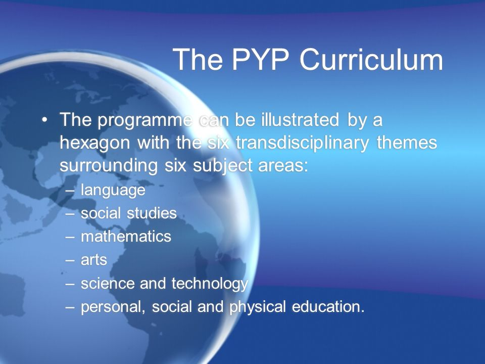 The PYP Curriculum The programme can be illustrated by a hexagon with the six transdisciplinary themes surrounding six subject areas: –language –social studies –mathematics –arts –science and technology –personal, social and physical education.