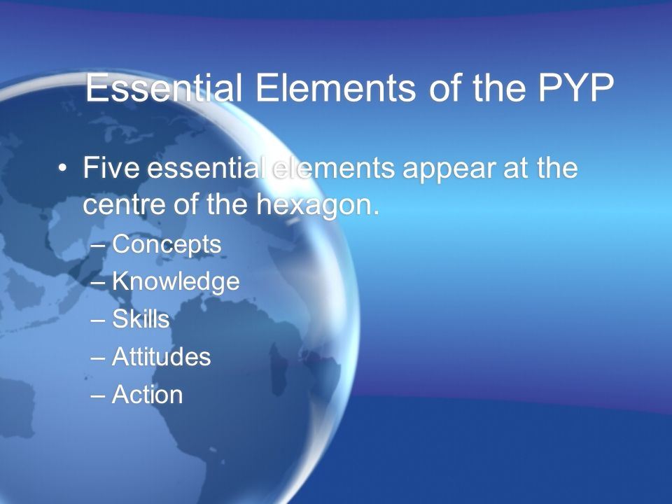Essential Elements of the PYP Five essential elements appear at the centre of the hexagon. –Concepts –Knowledge –Skills –Attitudes –Action Five essent