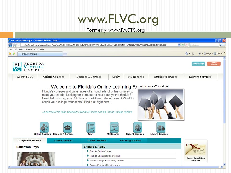 www.FLVC.org Formerly www.FACTS.org