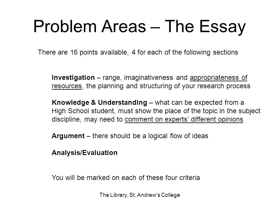 Problem Areas – The Essay The Library, St. Andrew's College There are 16 points available, 4 for each of the following sections Investigation – range,