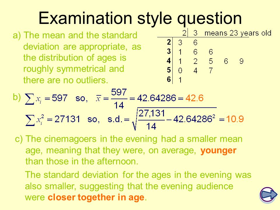 a) The mean and the standard deviation are appropriate, as the distribution of ages is roughly symmetrical and there are no outliers. Examination styl
