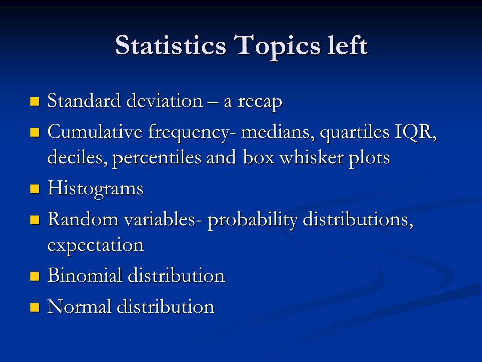 Statistics Topics left Standard deviation – a recap Standard deviation – a recap Cumulative frequency- medians, quartiles IQR, deciles, percentiles an
