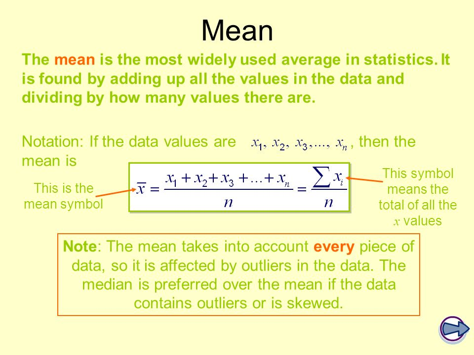 The mean is the most widely used average in statistics. It is found by adding up all the values in the data and dividing by how many values there are.