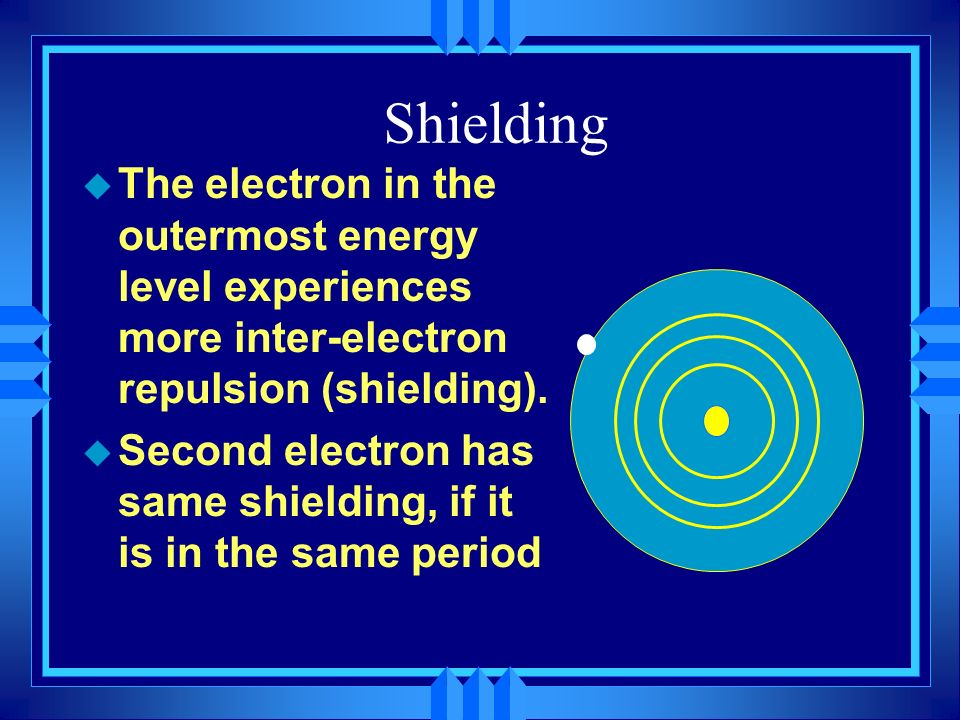 Shielding u The electron in the outermost energy level experiences more inter-electron repulsion (shielding). u Second electron has same shielding, if