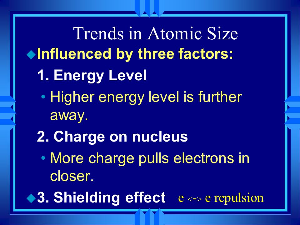 Trends in Atomic Size u Influenced by three factors: 1. Energy Level Higher energy level is further away. 2. Charge on nucleus More charge pulls elect