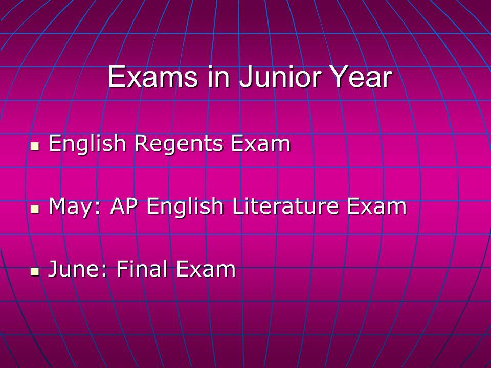 Exams in Junior Year English Regents Exam English Regents Exam May: AP English Literature Exam May: AP English Literature Exam June: Final Exam June: Final Exam