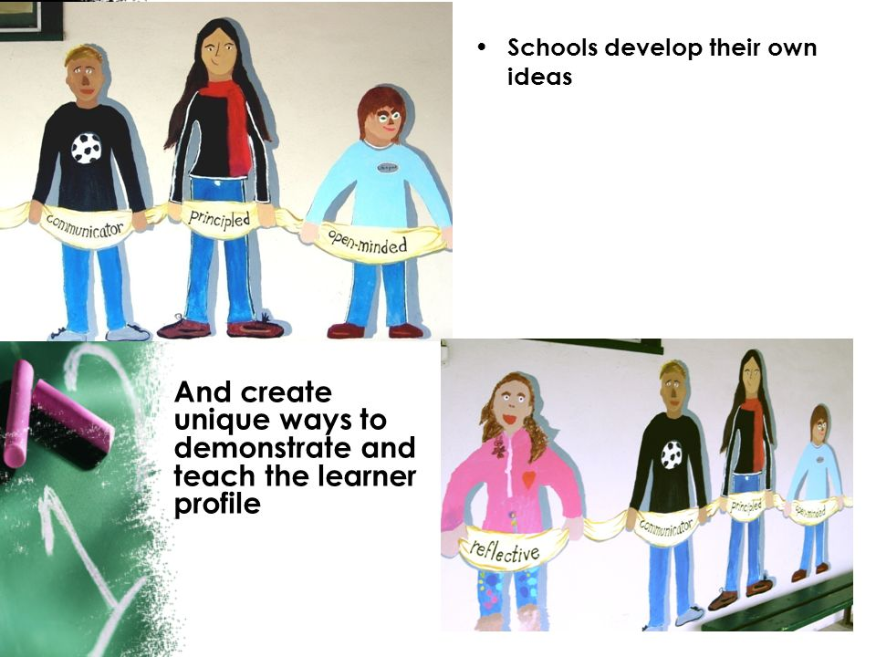 Schools develop their own ideas And create unique ways to demonstrate and teach the learner profile