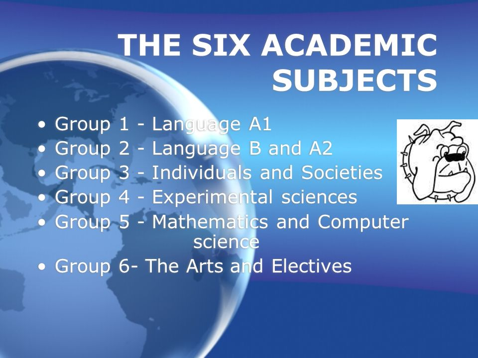 Traditional IB Schedule One From Each Group English HL Second Language SL may be HL History of the Americas HL Biology HL, Chem.