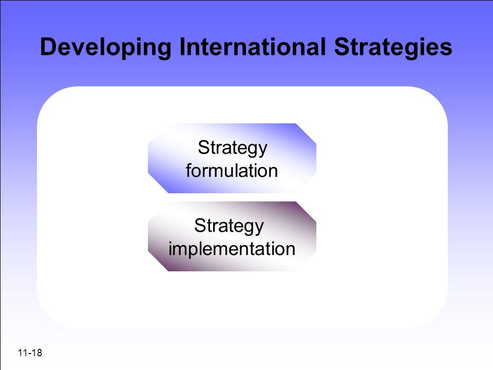 11-18 Developing International Strategies Strategy formulation Strategy implementation