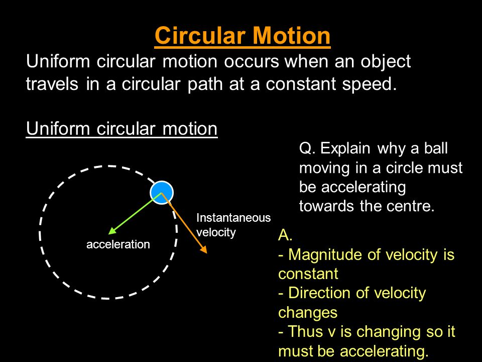 Circular Motion Uniform circular motion occurs when an object travels in a circular path at a constant speed. Uniform circular motion Instantaneous ve