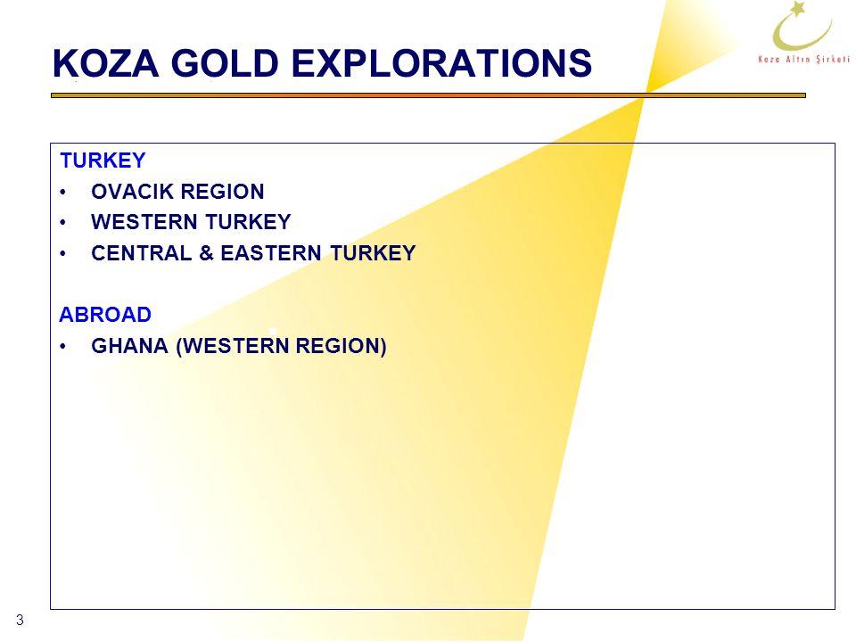 3 KOZA GOLD EXPLORATIONS TURKEY OVACIK REGION WESTERN TURKEY CENTRAL & EASTERN TURKEY ABROAD GHANA (WESTERN REGION)