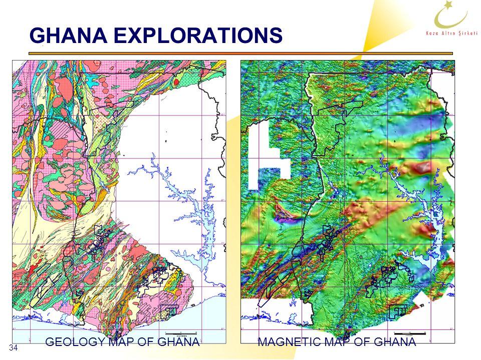 34 GHANA EXPLORATIONS GEOLOGY MAP OF GHANAMAGNETIC MAP OF GHANA