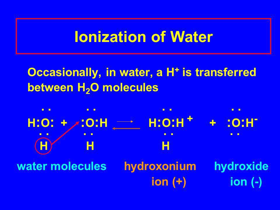 Ionization of Water Occasionally, in water, a H + is transferred between H 2 O molecules........