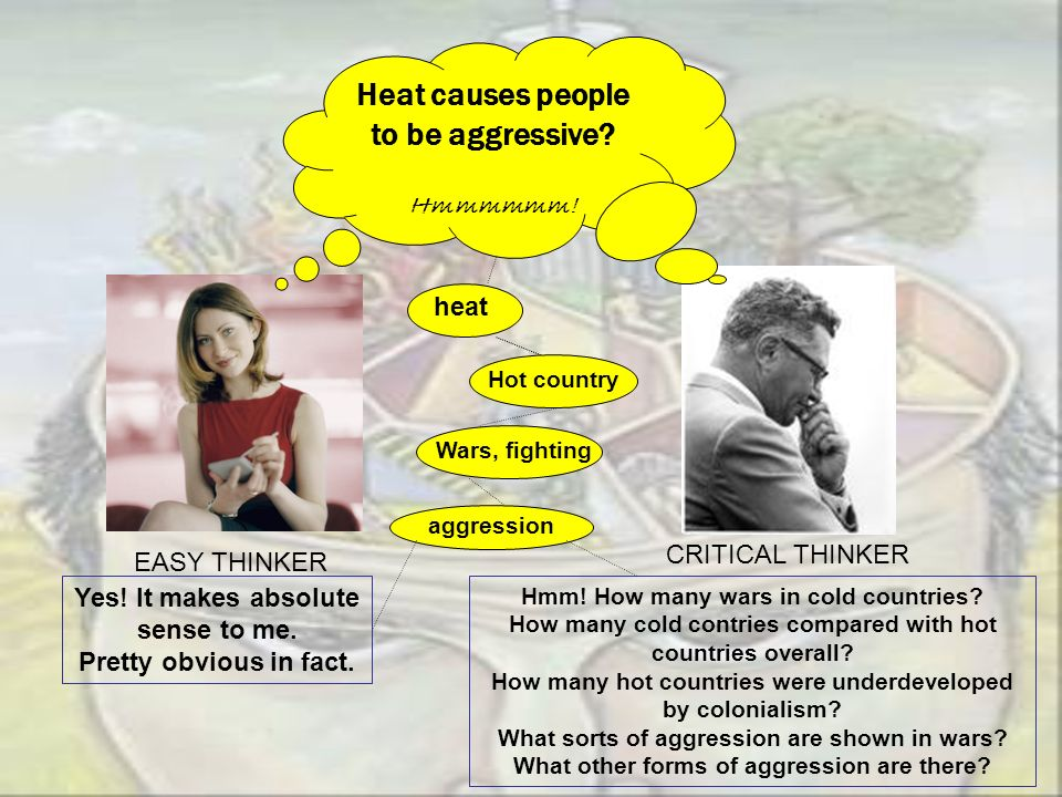 Heat causes people to be aggressive? Hmmmmmm! EASY THINKER CRITICAL THINKER Hot countryWars, fighting aggression Hmm! How many wars in cold countries?