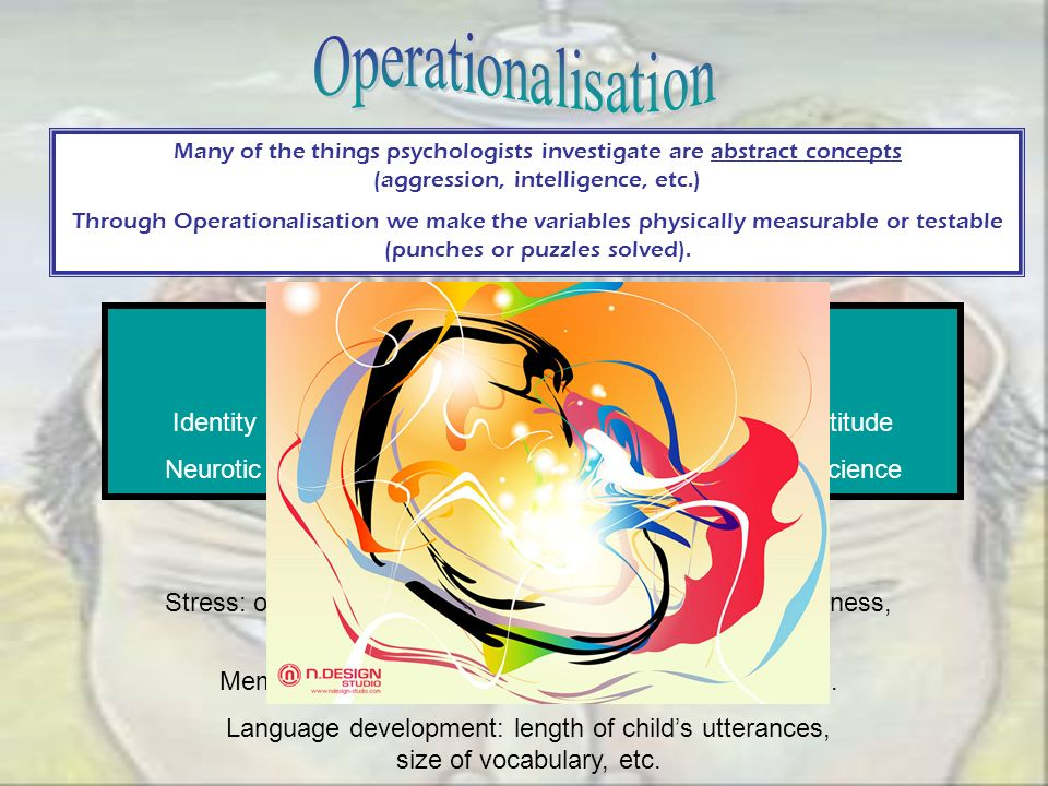 Many of the things psychologists investigate are abstract concepts (aggression, intelligence, etc.) Through Operationalisation we make the variables p