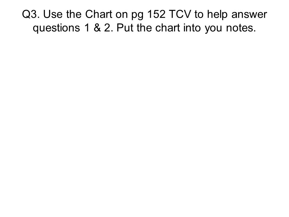 Q3. Use the Chart on pg 152 TCV to help answer questions 1 & 2. Put the chart into you notes.