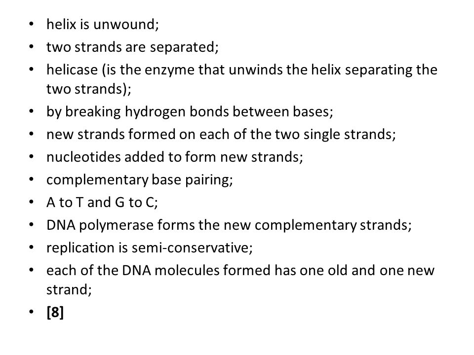helix is unwound; two strands are separated; helicase (is the enzyme that unwinds the helix separating the two strands); by breaking hydrogen bonds be