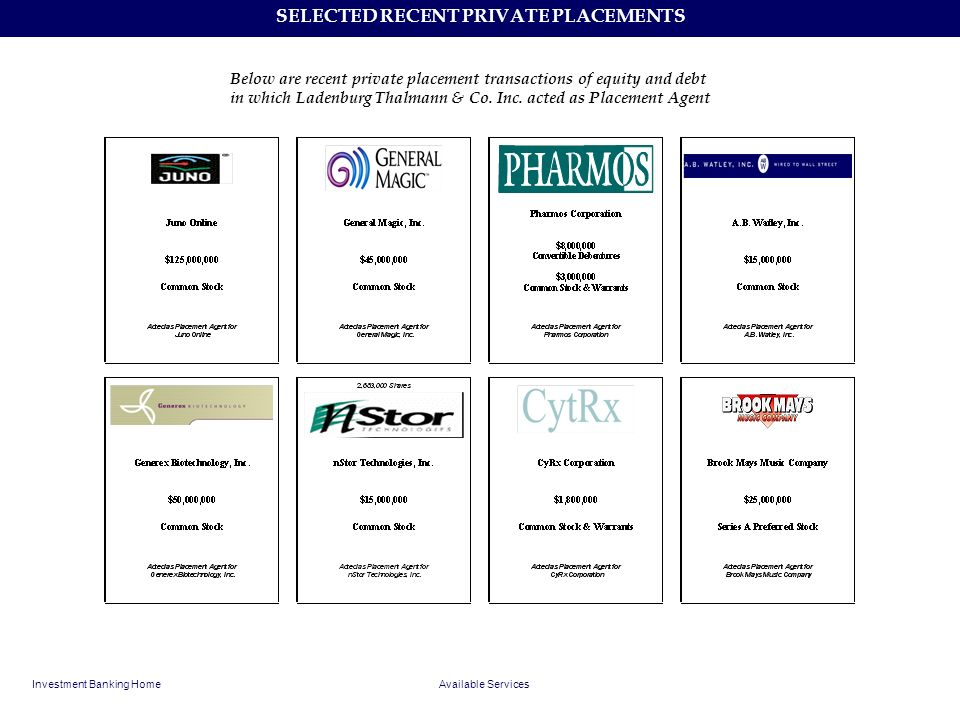 SELECTED RECENT PRIVATE PLACEMENTS Investment Banking HomeAvailable Services Below are recent private placement transactions of equity and debt in whi