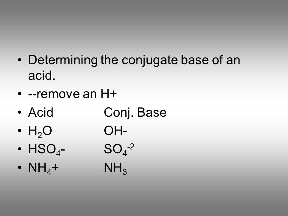 Determining the conjugate base of an acid. --remove an H+ AcidConj. Base H 2 OOH- HSO 4 -SO 4 -2 NH 4 +NH 3