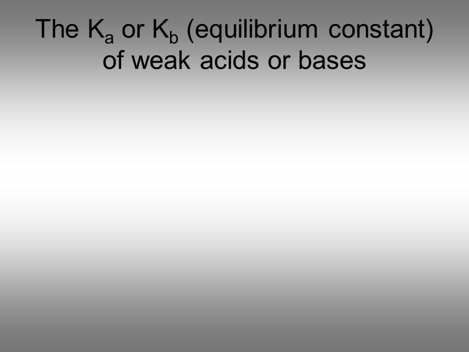 The K a or K b (equilibrium constant) of weak acids or bases