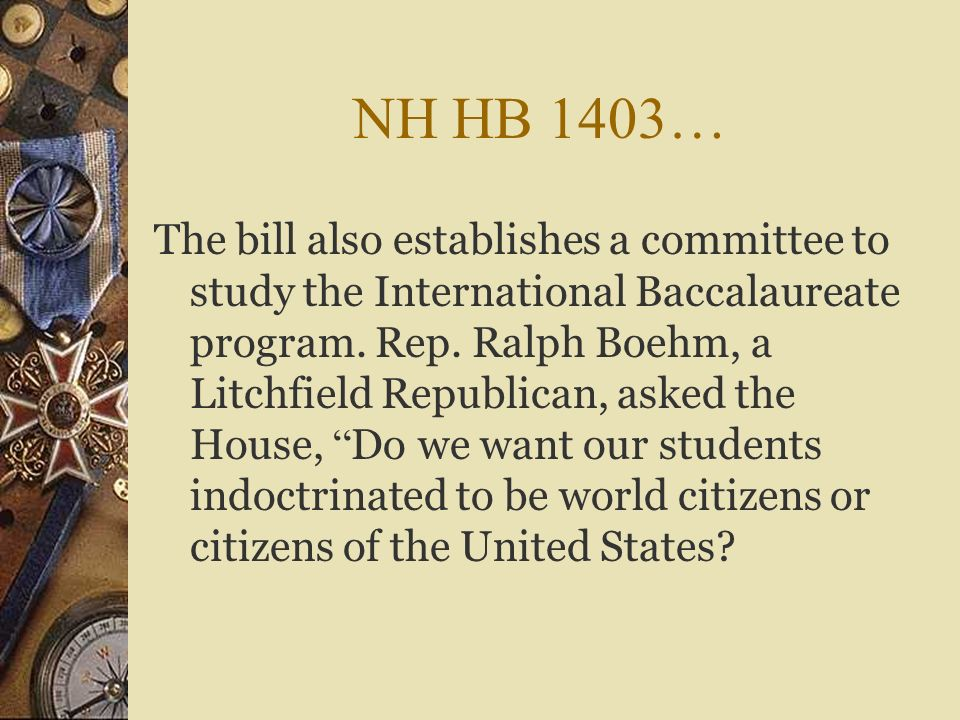 New Hampshire House Bill 1403 Passed the State House on March 28, 2012 by a vote of 209-102. The House Education Committee amendment states that no sc