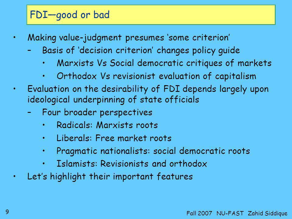 20 Fall 2007 NU-FAST Zahid Siddique Islamists: Revisionist fallacy Vs Orthodox legacy