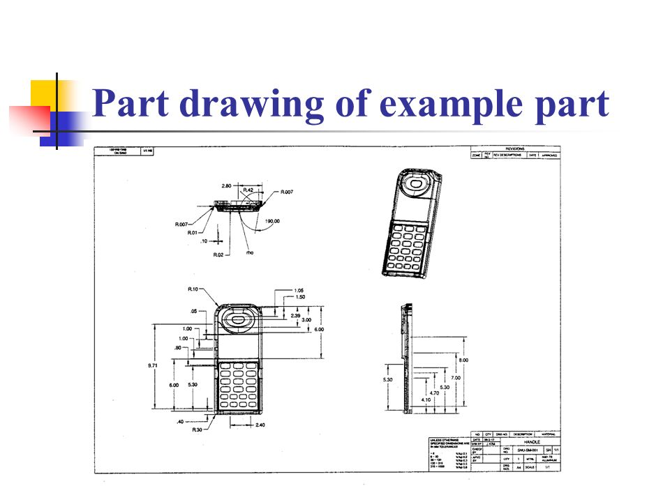 Part drawing of example part