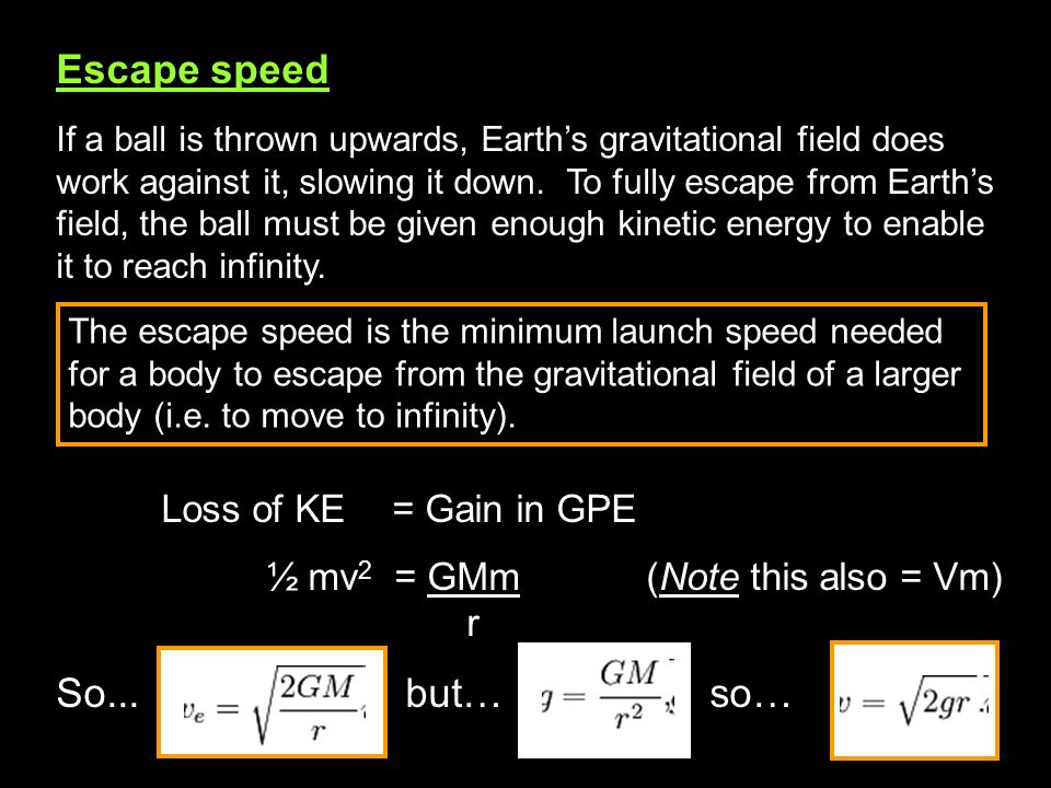 Escape speed If a ball is thrown upwards, Earths gravitational field does work against it, slowing it down. To fully escape from Earths field, the bal