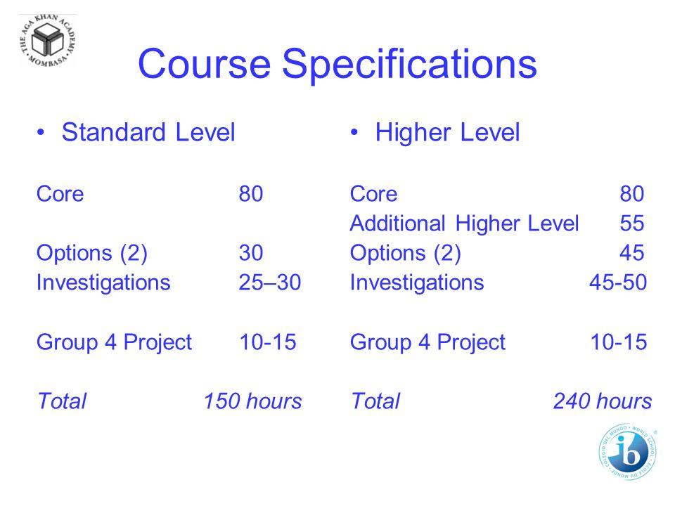 Course Specifications Standard Level Core80 Options (2)30 Investigations25–30 Group 4 Project10-15 Total 150 hours Higher Level Core80 Additional Higher Level55 Options (2)45 Investigations 45-50 Group 4 Project 10-15 Total240 hours