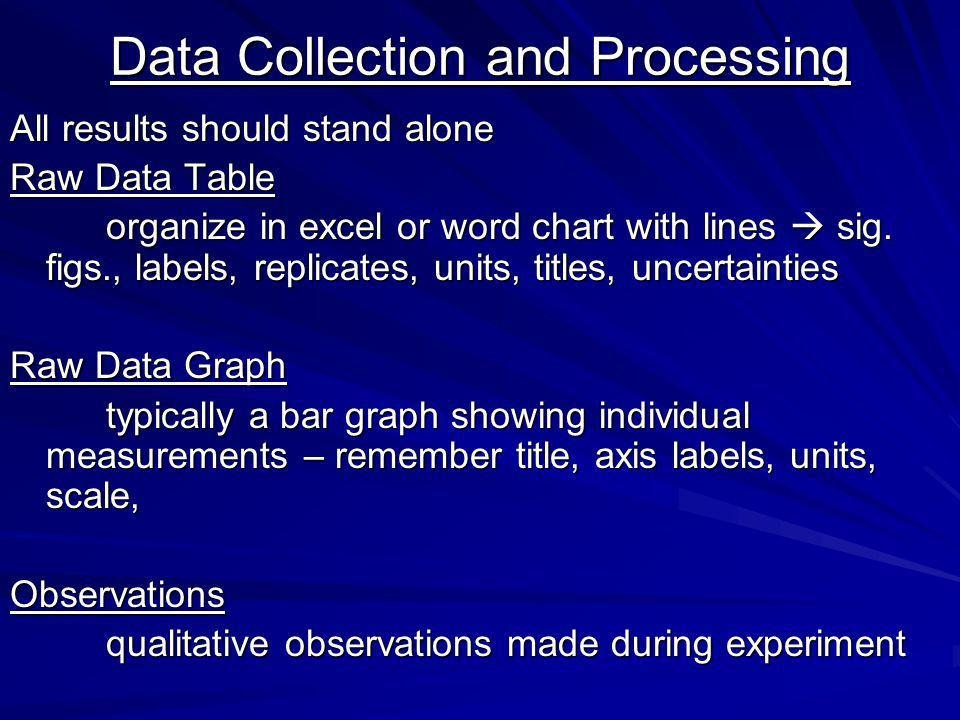 Data Collection and Processing All results should stand alone Raw Data Table organize in excel or word chart with lines sig.