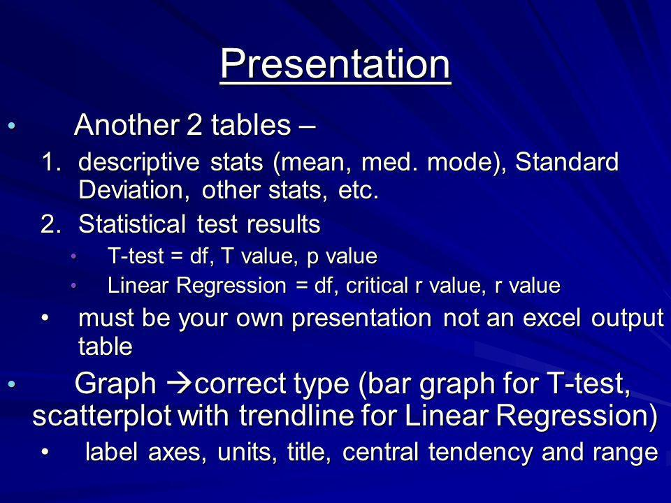 Presentation Another 2 tables – Another 2 tables – 1.descriptive stats (mean, med.
