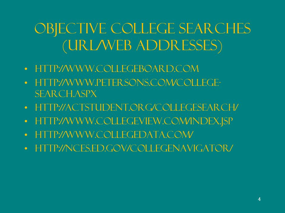 Objective College Searches (URL/Web Addresses)     search.aspx