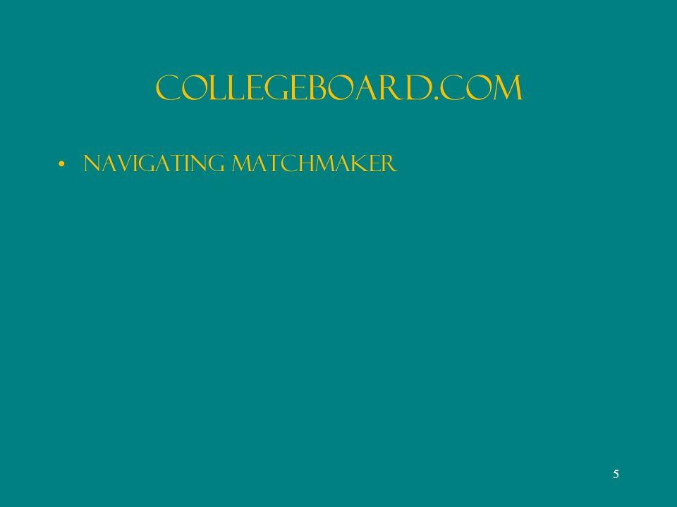 CollegeBoard.Com Navigating MatchMaker 5