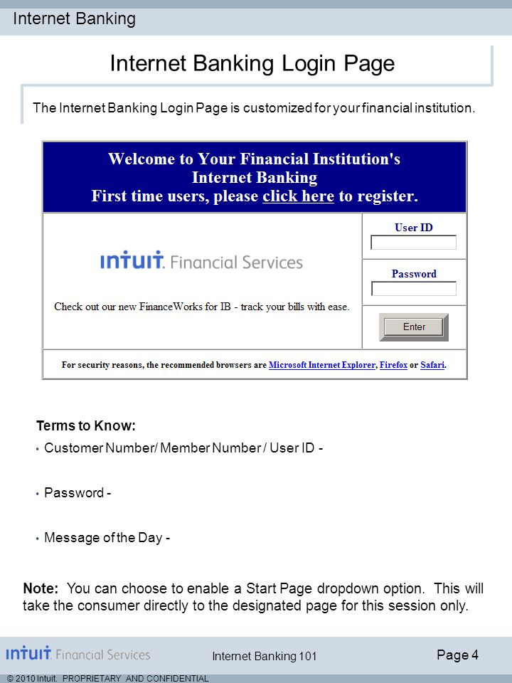 Internet Banking Page 4 © 2010 Intuit. PROPRIETARY AND CONFIDENTIAL Internet Banking 101 The Internet Banking Login Page is customized for your financ
