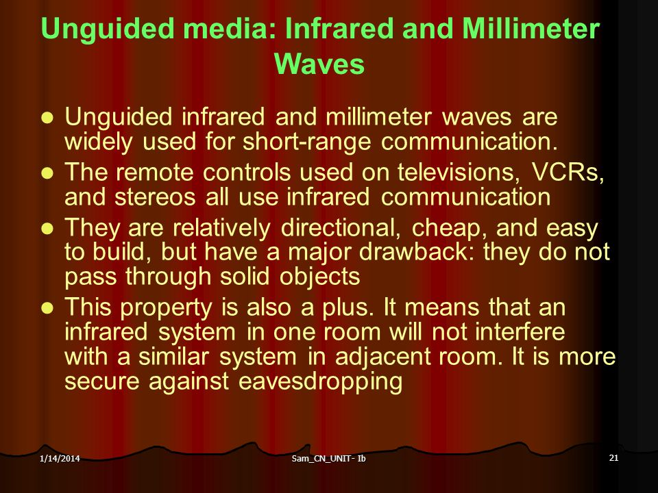 Sam_CN_UNIT- Ib 21 1/14/2014 Unguided media: Infrared and Millimeter Waves Unguided infrared and millimeter waves are widely used for short-range comm