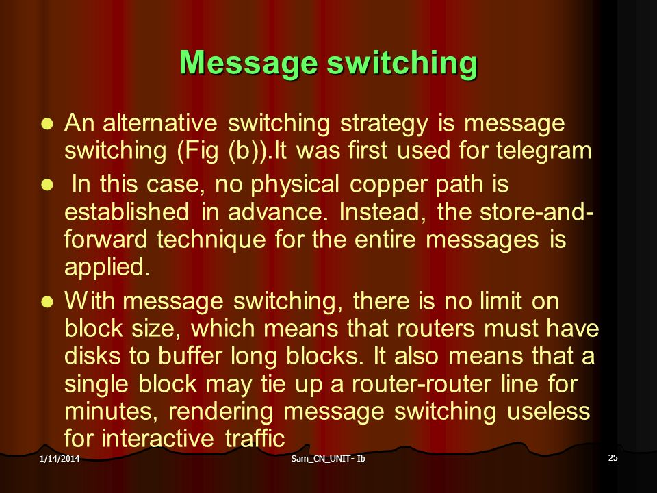 Sam_CN_UNIT- Ib 25 1/14/2014 Message switching An alternative switching strategy is message switching (Fig (b)).It was first used for telegram In this
