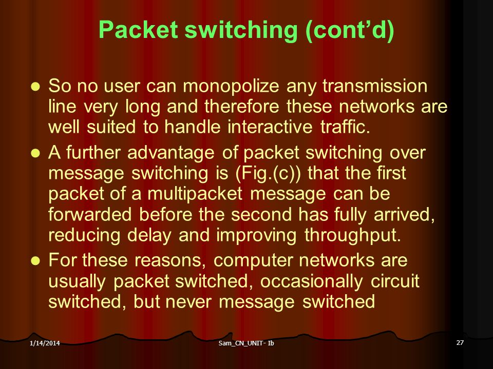 Sam_CN_UNIT- Ib 27 1/14/2014 Packet switching (contd) So no user can monopolize any transmission line very long and therefore these networks are well
