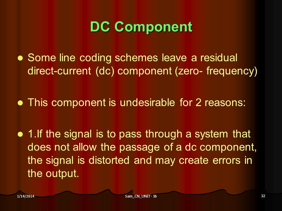 Sam_CN_UNIT- Ib 32 1/14/2014 DC Component Some line coding schemes leave a residual direct-current (dc) component (zero- frequency) This component is
