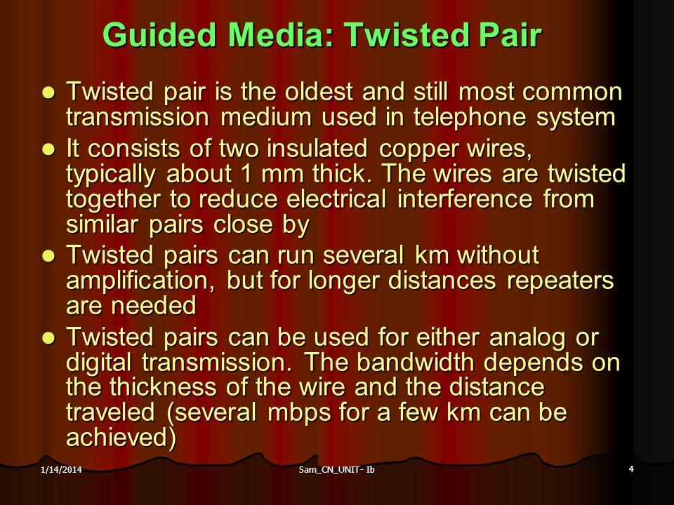 Sam_CN_UNIT- Ib 4 1/14/2014 Guided Media: Twisted Pair Guided Media: Twisted Pair Twisted pair is the oldest and still most common transmission medium