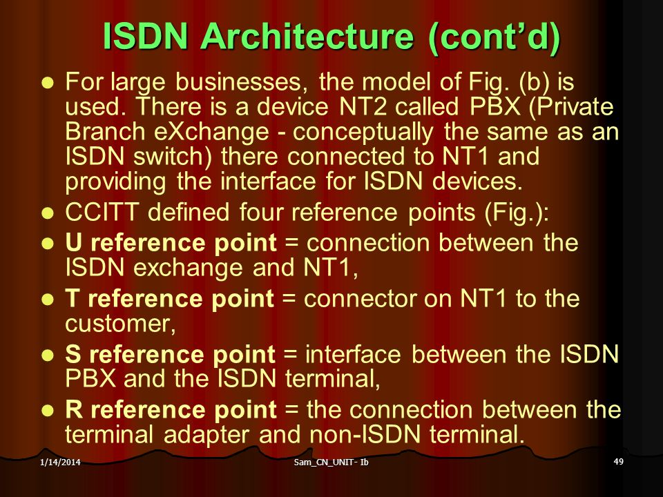 Sam_CN_UNIT- Ib 49 1/14/2014 ISDN Architecture (contd) For large businesses, the model of Fig. (b) is used. There is a device NT2 called PBX (Private